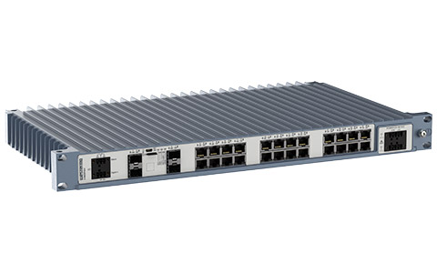 Westermo Industrial Rackmount Switch Redfox-5528-F4G-T24G left view.